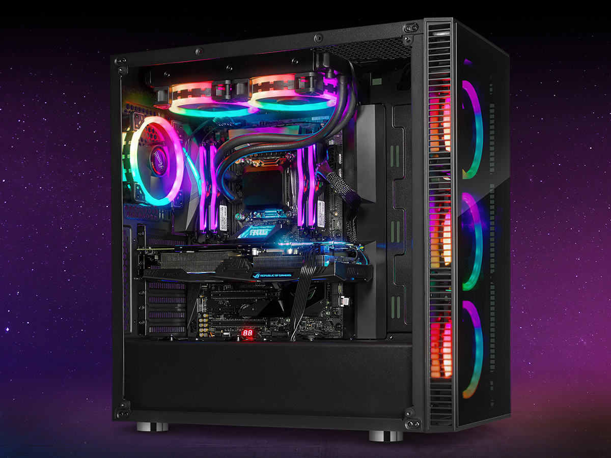 Atx Mid Tower Gaming Pc Computer Case With Dual Ring Rgb Led Fans