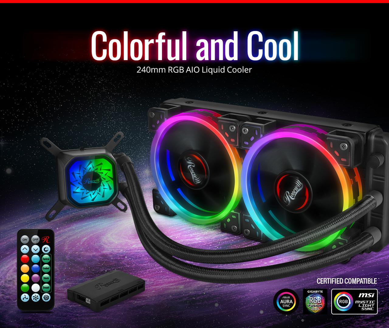 PB240-RGB Closed Loop CPU Liquid Cooler - Rosewill